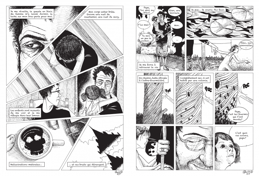 """two panels from Fred Dewilde's new book, """"La Morsure,"""" or """"The Bite."""""""