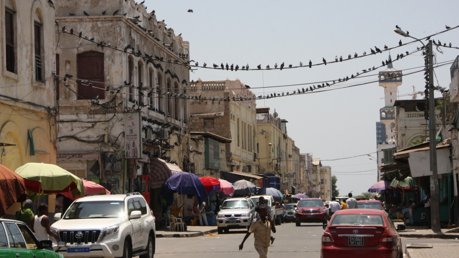 Djibouti City's dilapidated white building facades