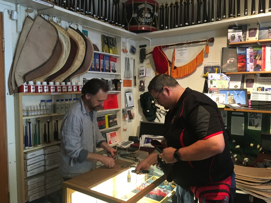 Alan Waldron restores antique bagpipes and makes new ones at his shop in Scotland