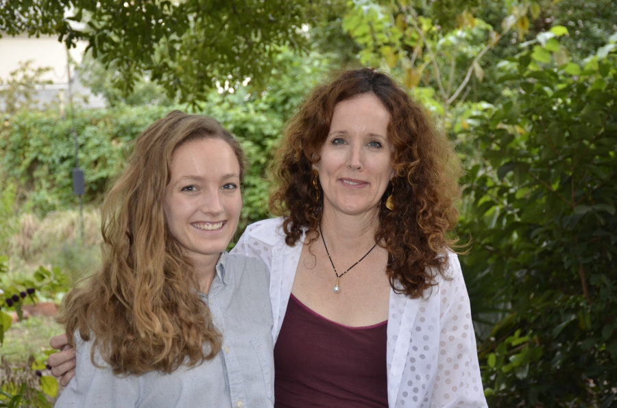 Sandy Spears, right, and her daughter Caroline Spears have been going door to door in the weeks leading up to the election, highlighting the climate stances of various politicians running for office in Texas.