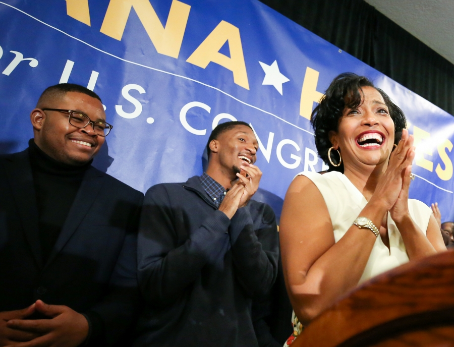 Representative-elect Jahana Hayes clasps her hands with tears in her eyes