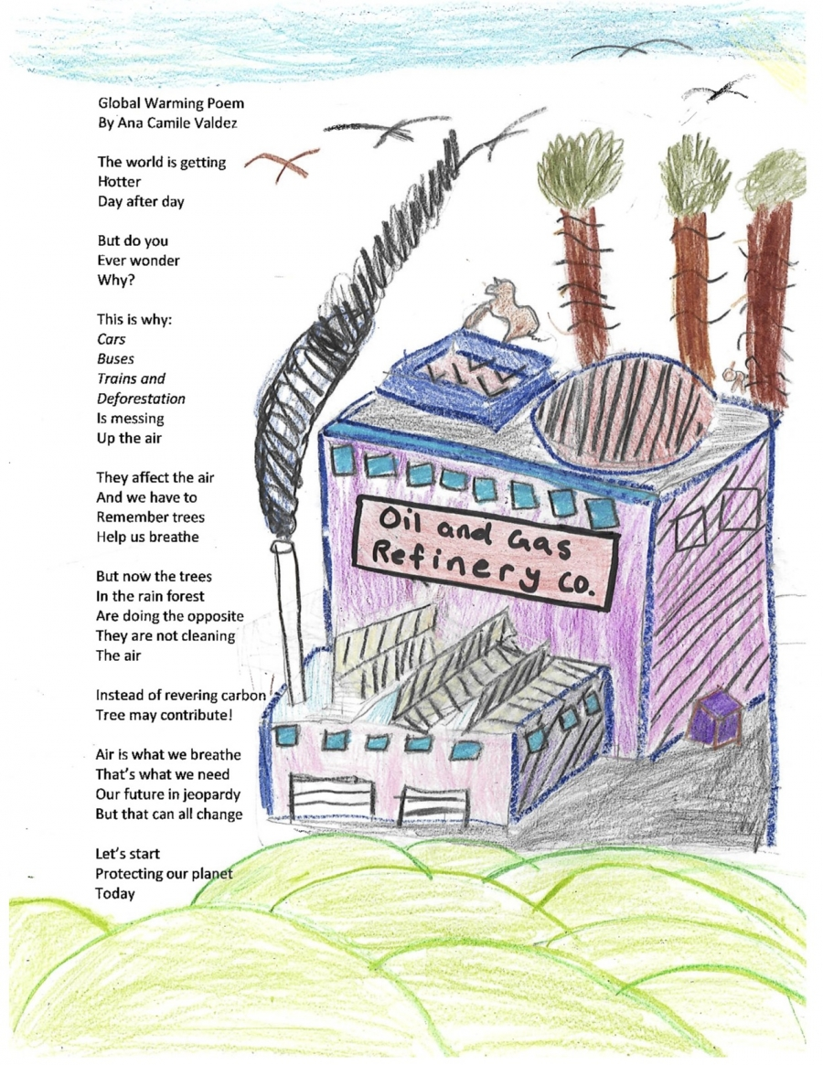 A child's illustrations decorate the border of a page that is a poem about the Amazon