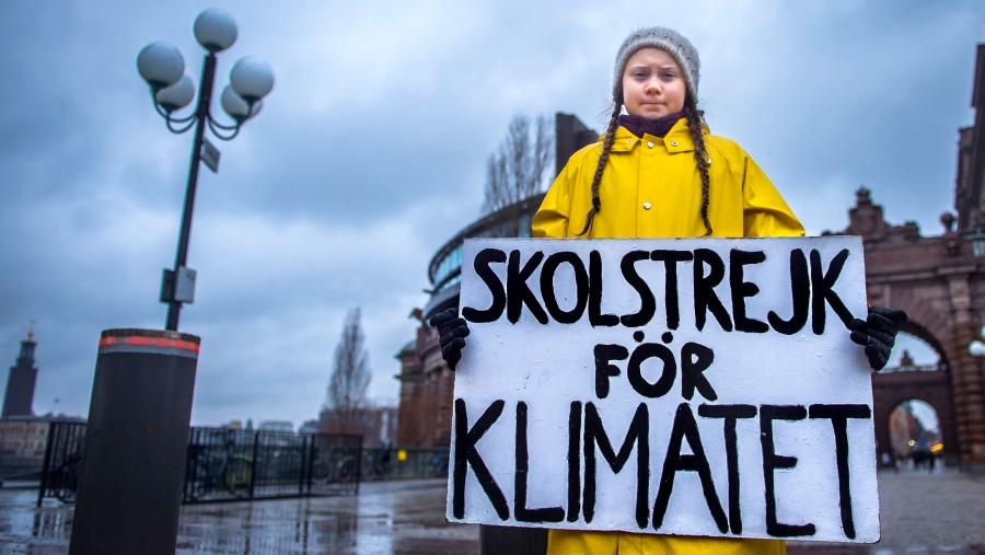 "A young girl stands in front of a government building holding a sign in Swedish. Translated, it says: ""School strike for the climate"""