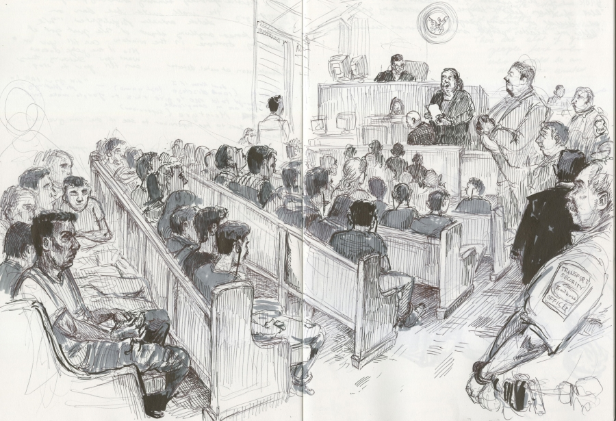 A pen and ink illustration shows a scene inside a courtroom