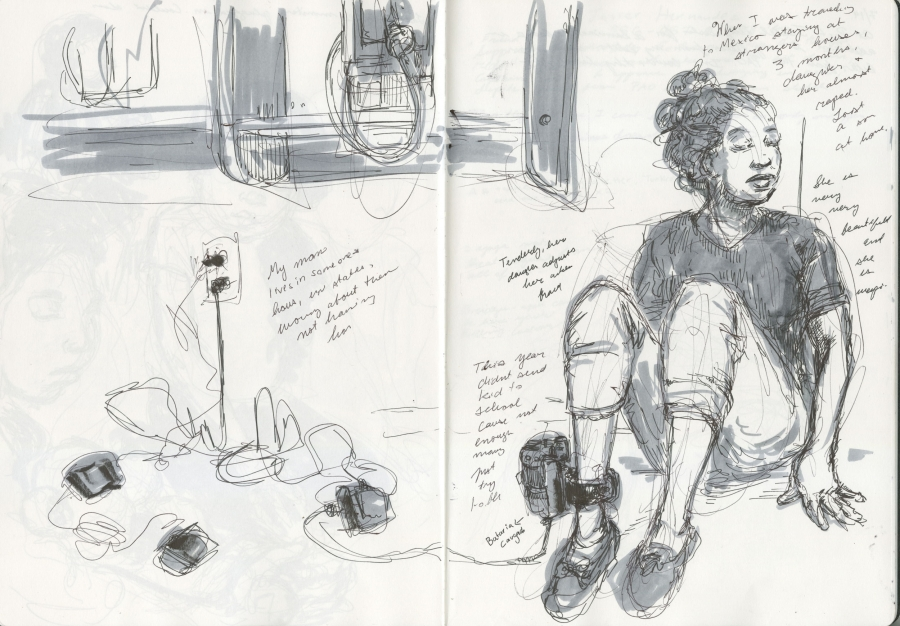 Sketches from border bus station show 'degrading' experience