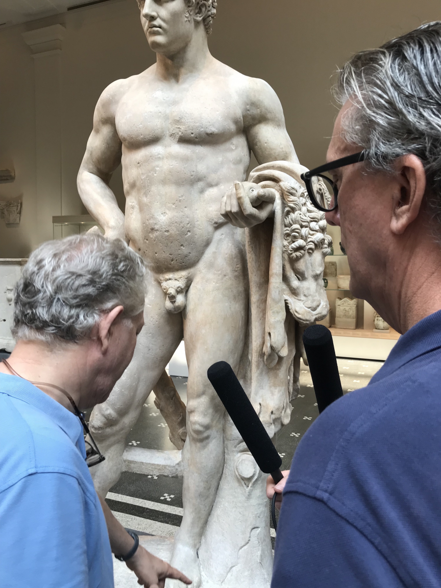 Andrew Lear and Kurt Andersen look at a marble statue of a youthful Hercules from 69-96 A.D.