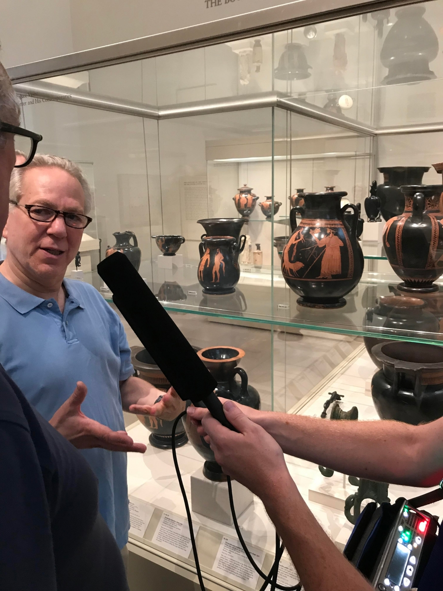 Andrew Lear, Kurt Andersen and Studio 360 producer Tommy Bazarian check out examples of penises in classical art that were large —on satyrs: mythical half-goat, half-man creatures.