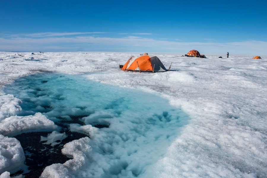 Glaciologist Joel Harper's team stays in tents right on the Greenland ice sheet