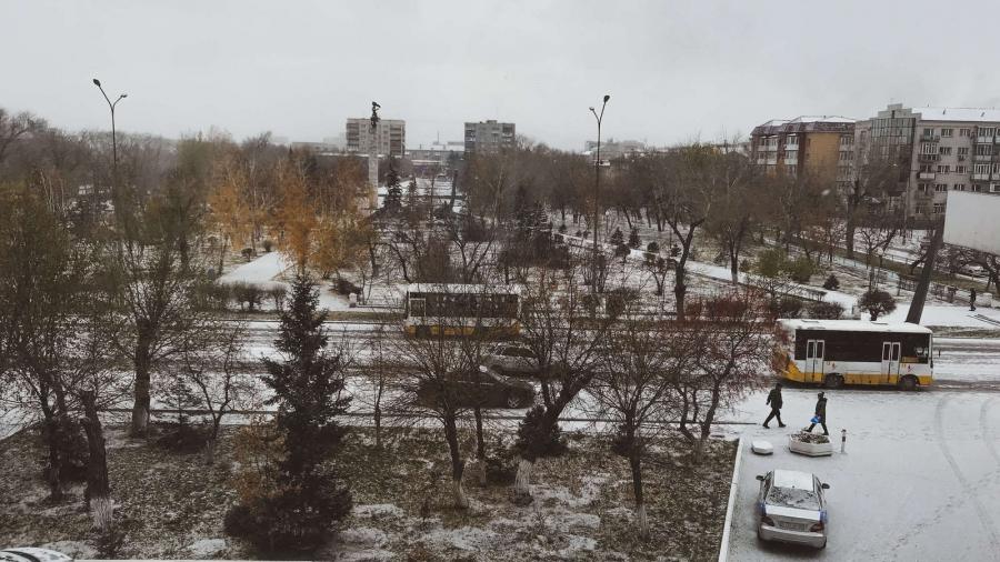 A snowy view of the town of Semrey, Kazakhstan.