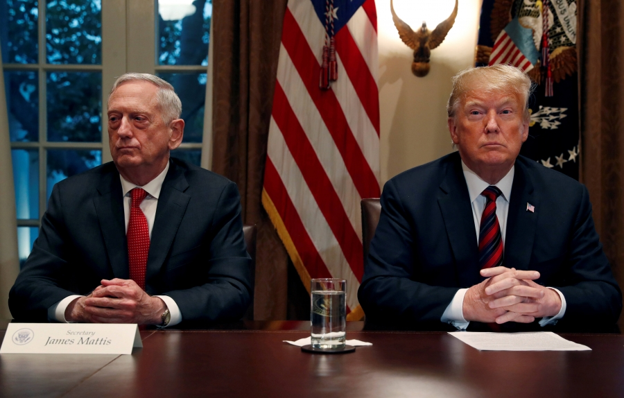 USPresident Donald Trumpand Defense Secretary JamesMattis sitting next to each other in the White House