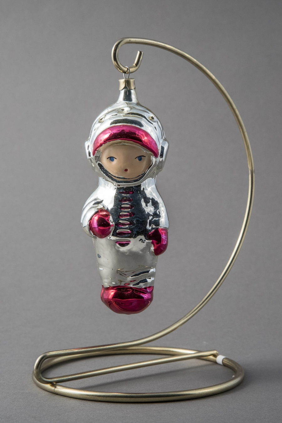 A cosmonaut ornament from 1960, made of painted blown glass in a Russian factory.