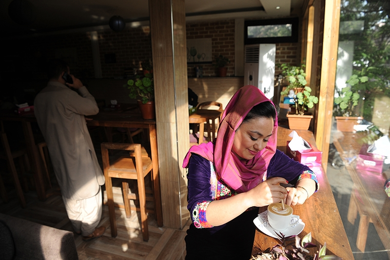 Nargis Azizshahy, owner of the ICafe in Kabul, Afghanistan.