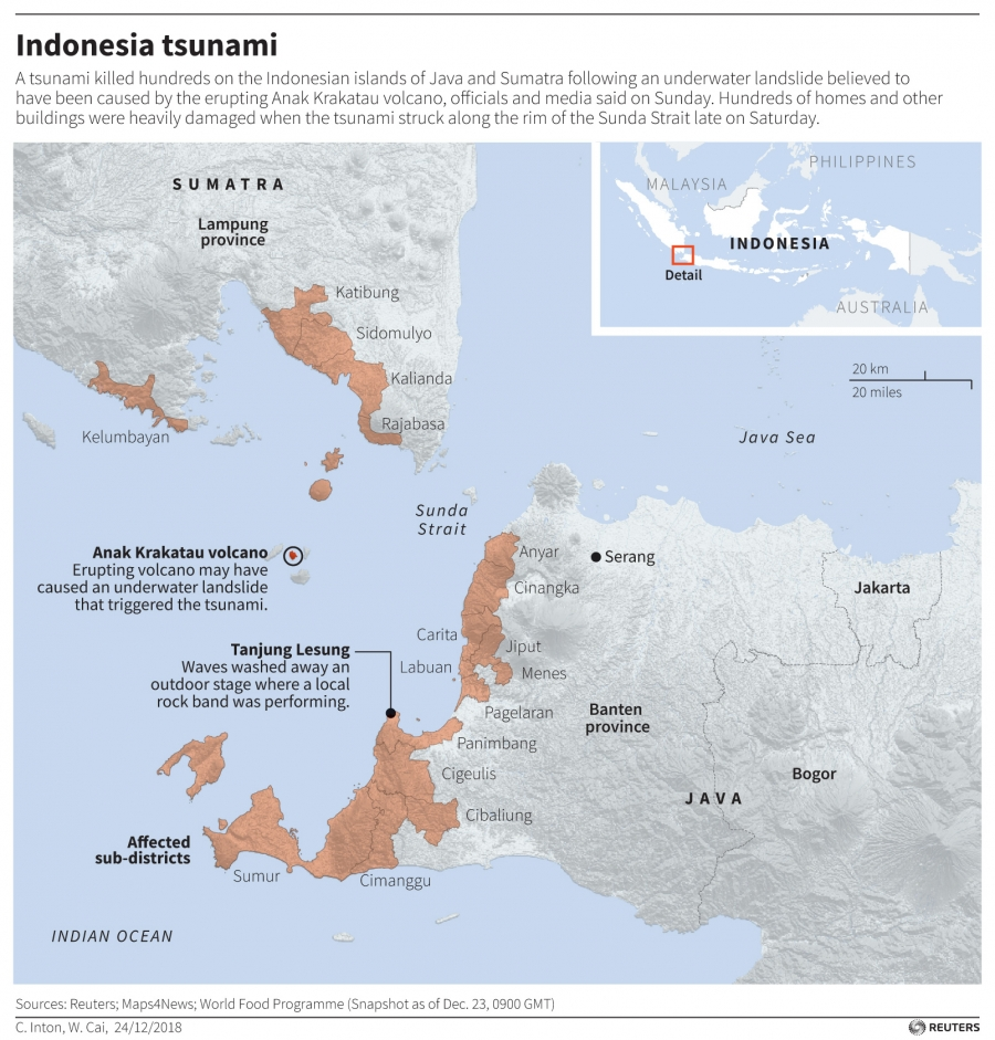 A map of Indonesia has a red zone showing areas where a tsunami occurred.
