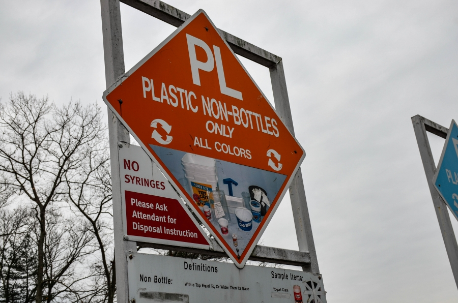 The recycling center in Wellesley, Massachusetts, has large posters guiding residents were to deposit their items.