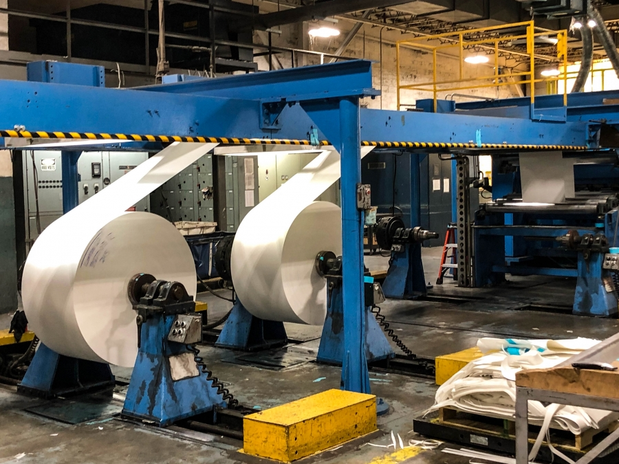 Each working day, the Mohawk mill in Cohoes, New York, produces about 150 tons of paper.