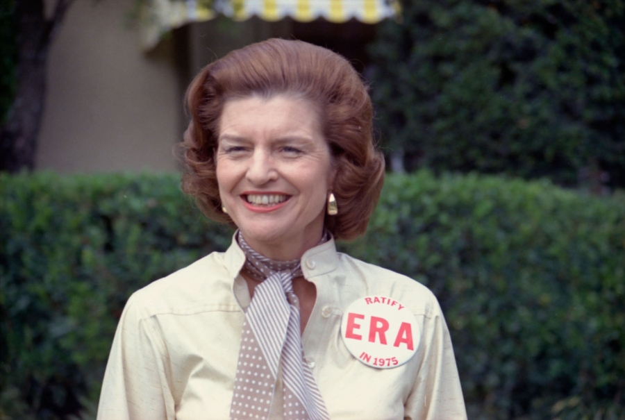 "Former first Lady Betty Ford wears a large button ""EPA"" button"