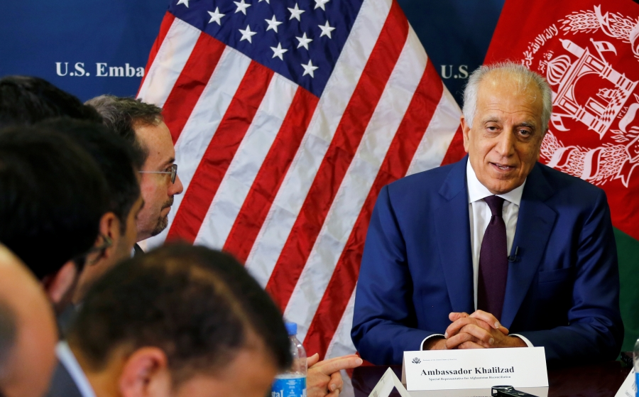 U.S. special envoy for peace in Afghanistan, Zalmay Khalilzad, talks with local reporters at the U.S. embassy in Kabul, Afghanistan November 18, 2018.