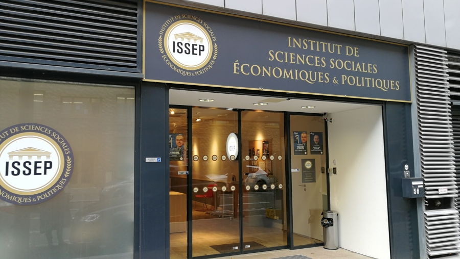 Outside the doors of Marion Maréchal's newly established school, the Institute for Social, Economic and Political Sciences (ISSEP).
