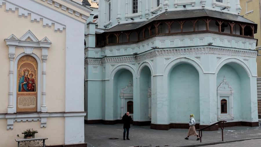 A Moscow-affiliated church with light blue painted walls.