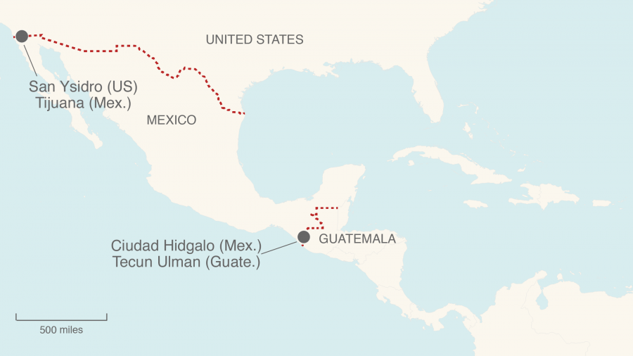 A map shows border crossings into Mexico from Guatemala and into the US from Mexico.
