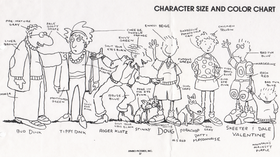 """Doug"" character designs from the show's production bible."