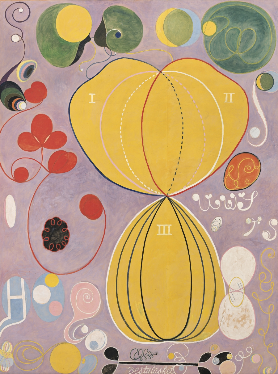 "Hilma af Klint, ""Group IV, The Ten Largest, No. 7, Adulthood (Grupp IV, De tio största, nr 7, Mannaåldern),"" 1907 from untitled series."