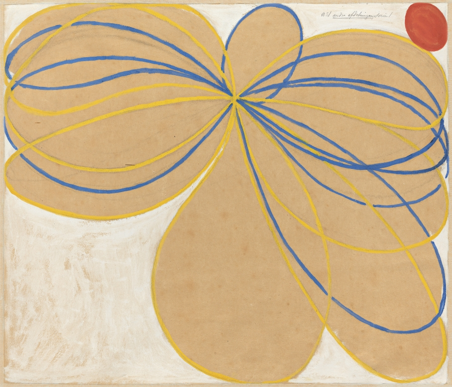 "Hilma af Klint, ""Group V, The Seven-Pointed Star, No. 1n (Grupp V, Sjustjärnan, nr 1),"" 1908 from ""The WUS/Seven-Pointed Star Series (Serie WUS/Sjustjärnan)."""