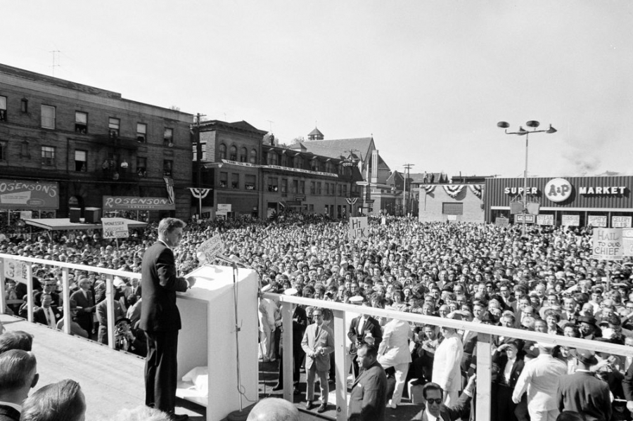 President John F. Kennedy delivers remarks to a congressional campaign rally in Monessen, Pennsylvania, October 13, 1962.