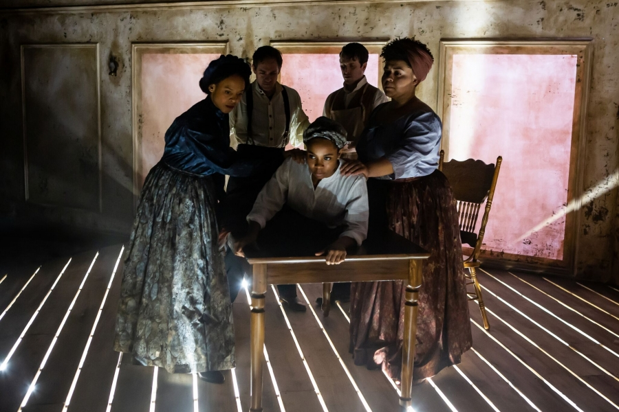 "Nia Calloway, Joel Ripka, Naomi Lorrain, Stephen James Anthony and Cristina Pitter in ""Behind the Sheet."""