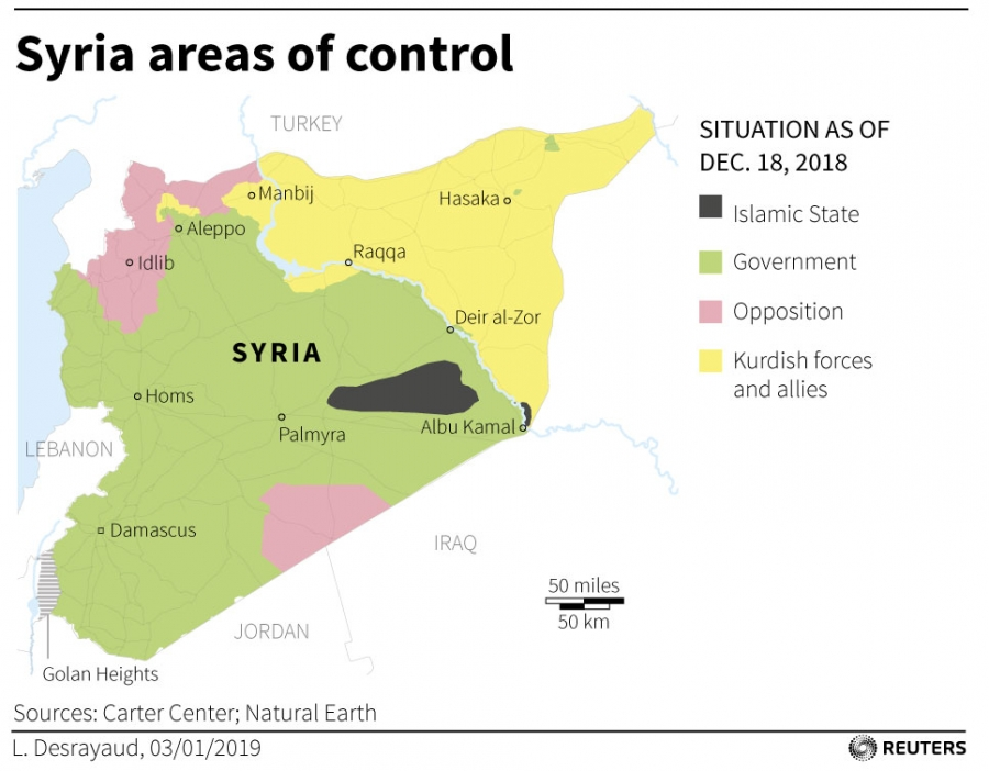 A map shows the territories controled by ISIS, the Syrian government and other parties.