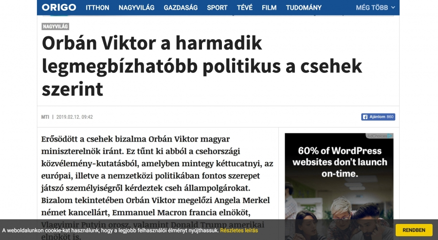 A news website is written in Hungarian