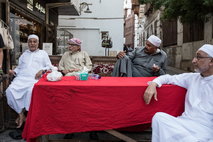 Men enjoy an afternoon tea in Al Balad, Jeddah, Saudi Arabia.