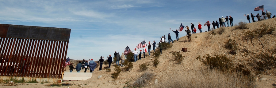 DATE IMPORTED:February 09, 2019U.S. demonstrators holding U.S. flags gather at the open border to make a human wall in support of the construction of the new border wall between U.S. and Mexico, in Ciudad Juarez, Mexico