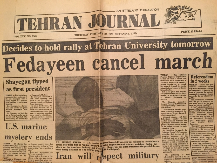 a newspaper clipping of the front page of the Tehran Journal, announcing Ken Kraus' release.