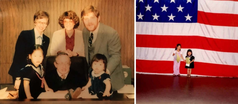 Two images. On the left, four white adults, including one judge pose behind a table. Two Korean children sit on the table. On the right, two Korean girls stand in front of a giant American flag.