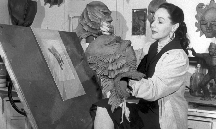 Milicent Patrick in the Universal monster shop.