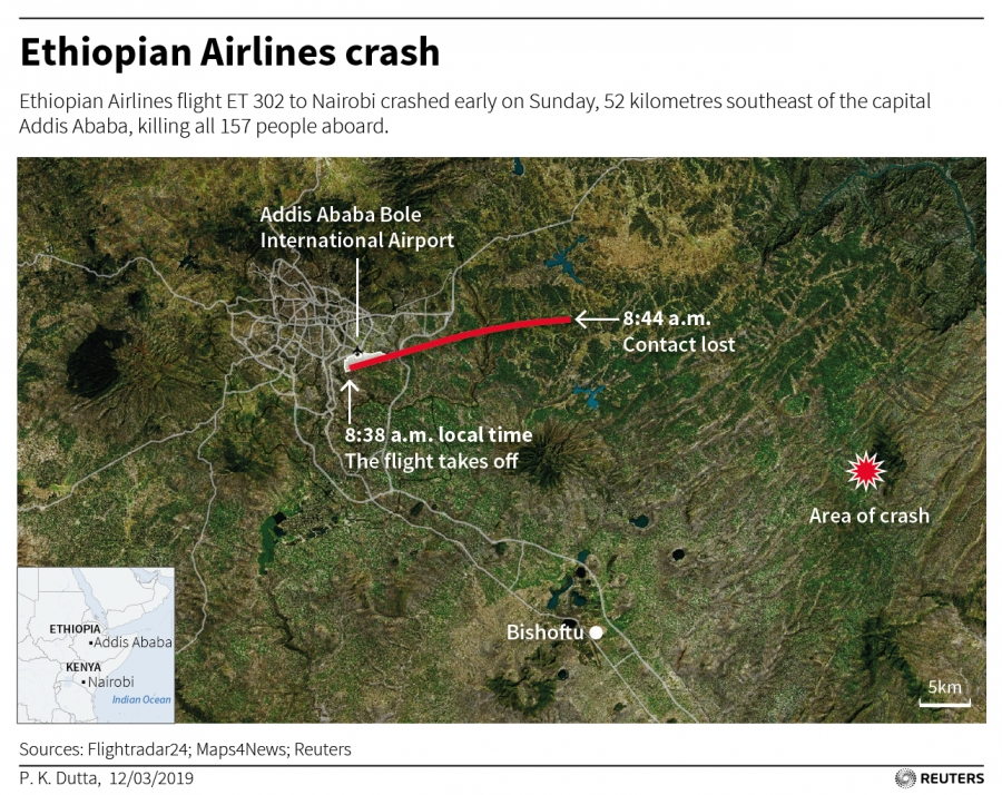 A map of the take-off and crash locations of the Ethiopia Airlines crash.