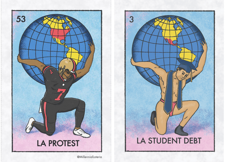 "Illustrated cards depicting a football player holding a globe with the text ""La Protest"" and a man in a cap and stole with the text ""La Student Debt"""