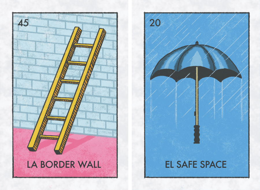 "Illustrated cards depicting a ladder with the text ""La border wall"" and an umbrella with the text ""El safe space"""