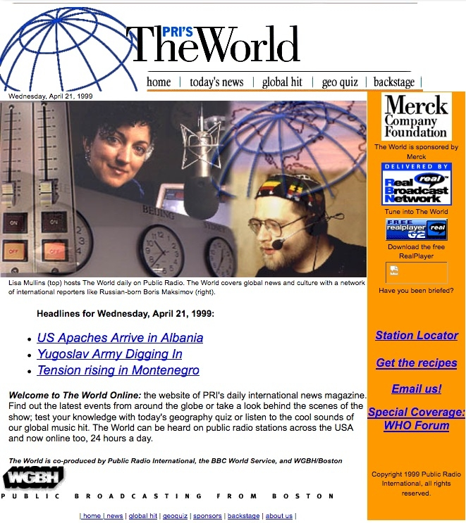 A screen grab of The World's website in 1999 featuring a story about US military helicopters in Albania.