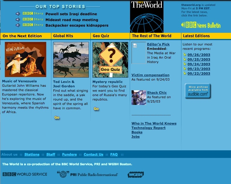 The World's website in 2003 featured a story on music of Venezuela.