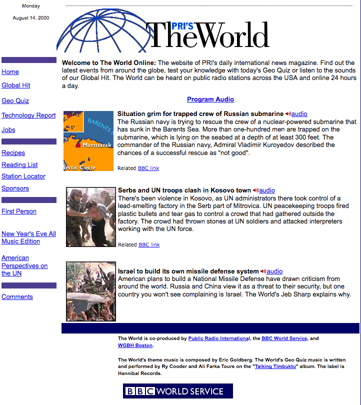 The World's website in 2000 featuring a story about a Russian submarine.