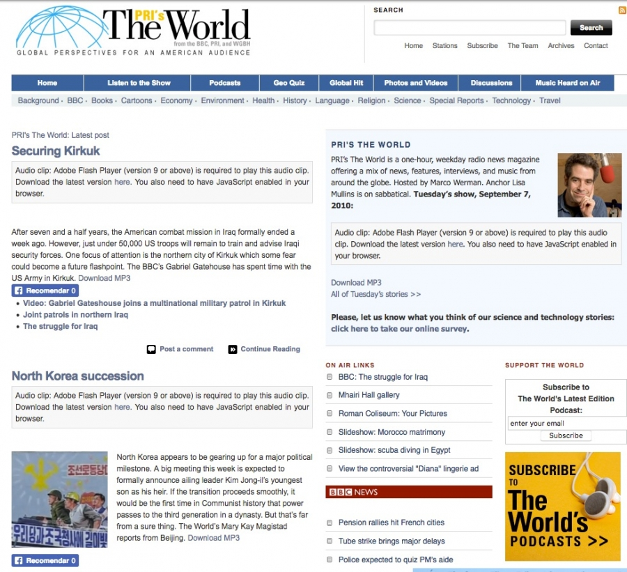 The World's website in 2010 featured a story about a battle in Kirkuk, Iraq.