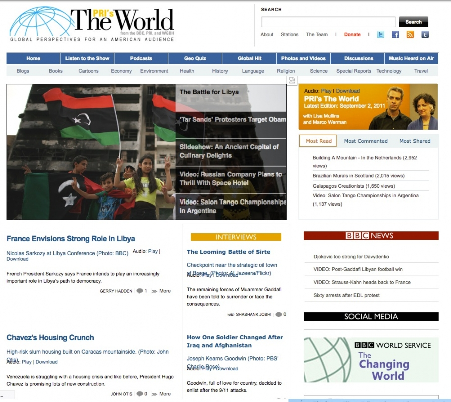The World's website in 2011 featured a story about France's role in Libya.
