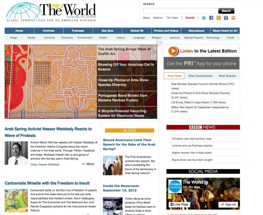 The World's website in 2012 featured an interview with Nasser Weddady.