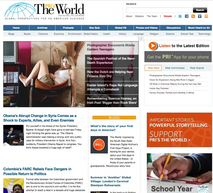 The World's website in 2013 featured a story about President Obama and Syria.