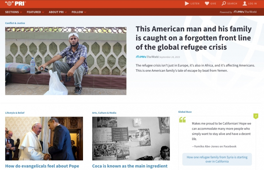 The World's website in 2015 featured a story about a global refugee crisis.