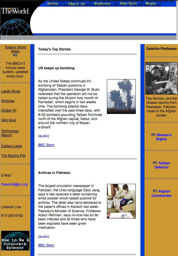 The World's website in 2001 featured a story on the war in Afghanistan.