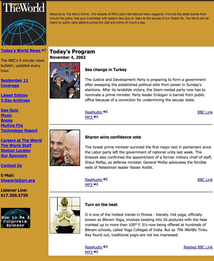 The World's website in 2002 featured a story about elections in Turkey.