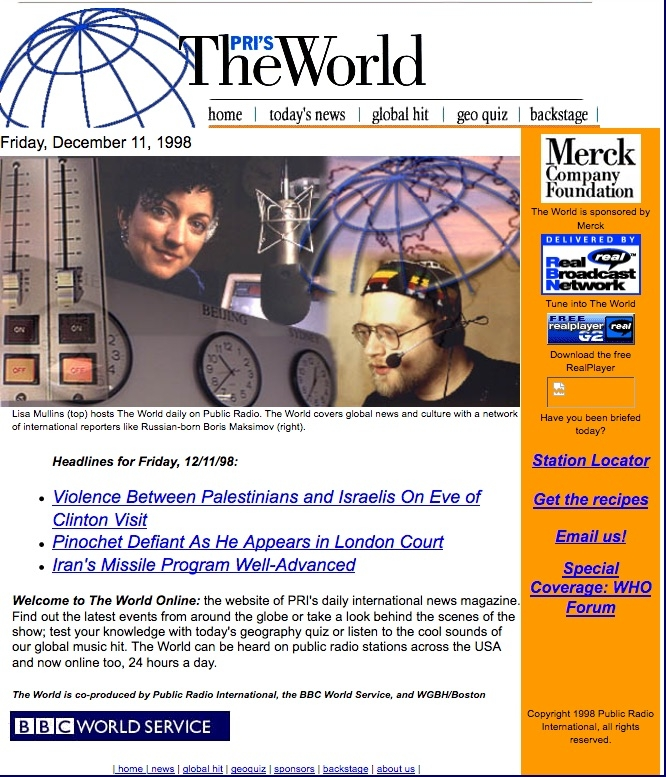 The World's website in 1998 featured a story about a conflict between Israelis and Palestinians.